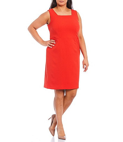 Kasper Plus Size Stretch Crepe Square Neck Sleeveless Sheath Dress