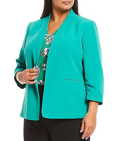 Kasper Plus Size Stretch Crepe Stand Collar 3/4 Sleeve Open Front Jacket