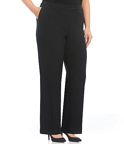 Kasper Plus Size Stretch Crepe Straight-Leg Pants