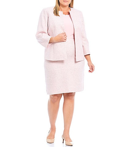 Kasper Plus Size Tweed 3/4 Sleeve Jewel Neck Open Front Cardigan & High Rise Tweed Pencil Skirt