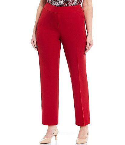 Kasper Plus Size Solid Crepe Slim Pant