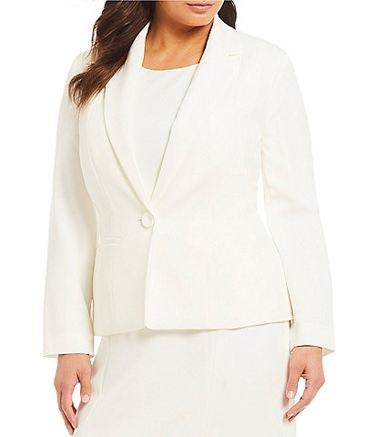 Kasper Plus Stretch Crepe Seamed Blazer