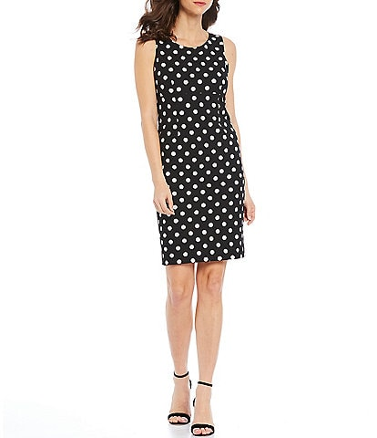Kasper Polka Dot Printed Scuba Crepe Empire Seamed Sleeveless Sheath Dress