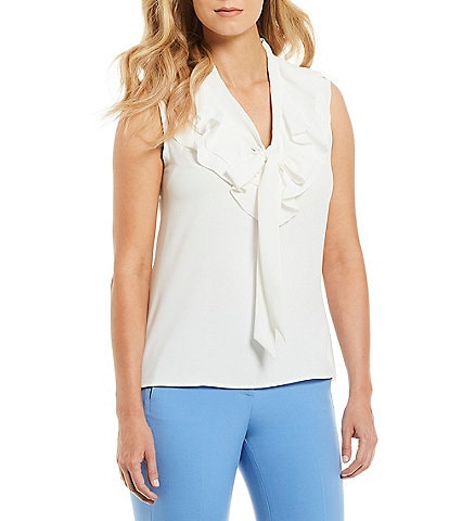 Kasper Ruffle Tie V-Neck Sleeveless Blouse