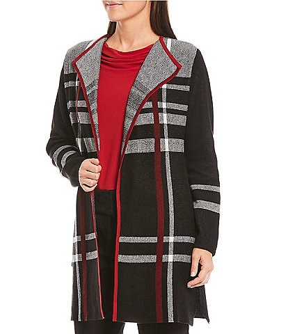 Kasper Side Knit Plaid Jacquard Long Sleeve Open Front Cardigan