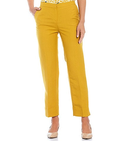 Kasper Side Zip Linen Elastic Back Slit Hem Pants