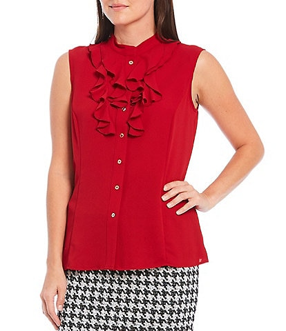 Kasper Sleeveless Crepe Ruffle Button Down Blouse