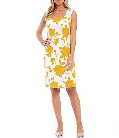 Kasper Sleeveless Square Neck Floral Sheath Dress