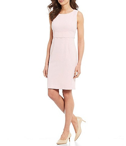 Kasper Sleeveless Stretch Crepe Scallop Hem Waist Detail Sheath Dress