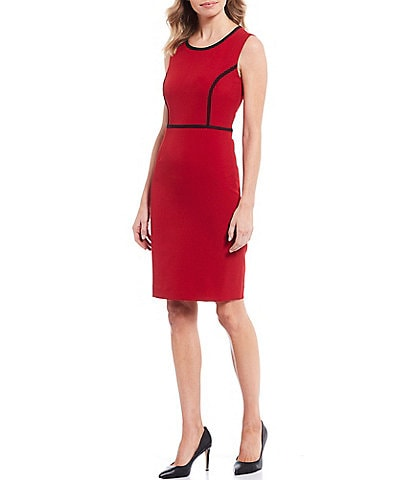 Kasper Stretch Crepe Jewel Neck Piped Trim Sleeveless Dress