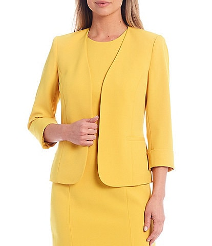 Kasper Stretch Crepe Seamed Roll Cuffed Sleeve Open Front Jacket