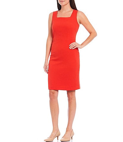 Kasper Stretch Crepe Square Neck Sleeveless Sheath Dress