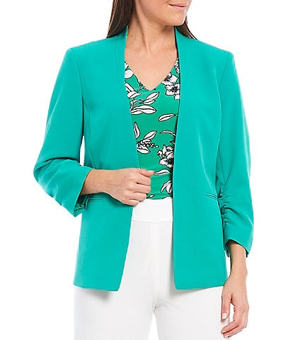 Kasper Stretch Crepe Stand Collar 3/4 Sleeve Open Front Cardigan Jacket