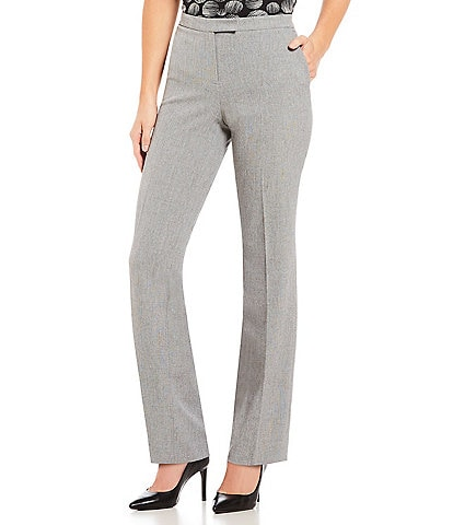 Kasper Stretch Woven Straight-Leg Pants