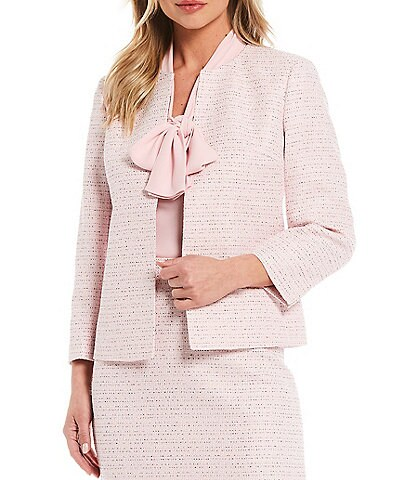 Kasper Tweed 3/4 Sleeve Jewel Neck Open Front Cardigan