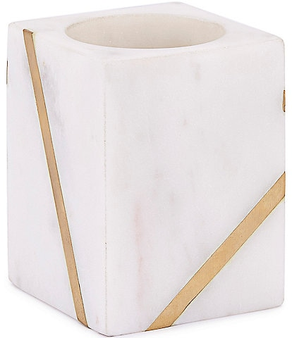 Kassatex Marble Brass Tumbler Toothbrush Holder