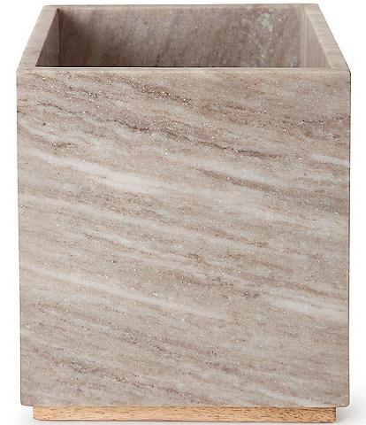 Kassatex San Marino Marble & Mango Wood Wastebasket