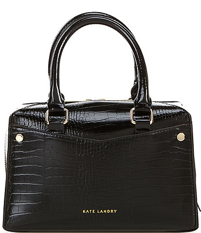 Kate Landry Bit Crocodile-Embossed Small Satchel Crossbody Bag
