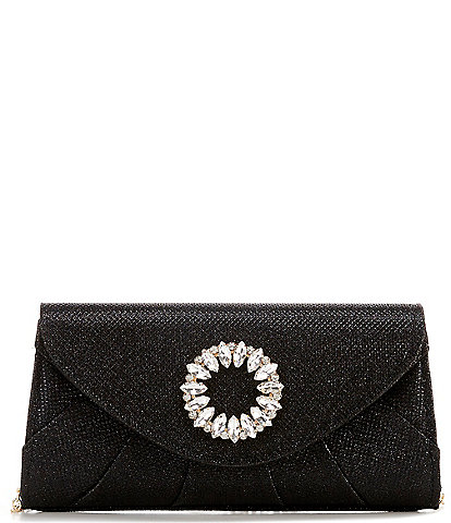 Kate Landry Circular Metallic Stoned Flap Clutch