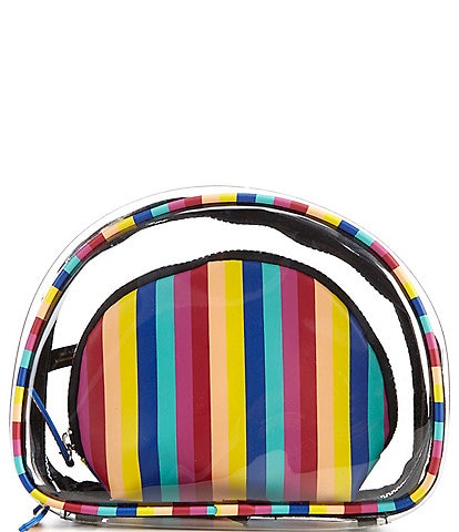 Kate Landry Clear Rainbow Stripe Double Cosmetic Pouch Set