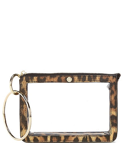 Kate Landry Clear Ring Handle Leopard Print Trimmed Wristlet