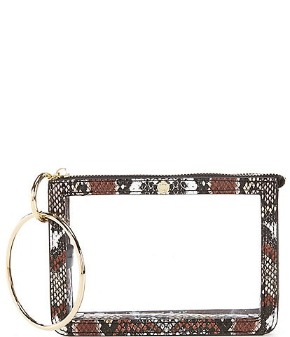 Kate Landry Clear Ring Handle Snake Print Trimmed Wristlet