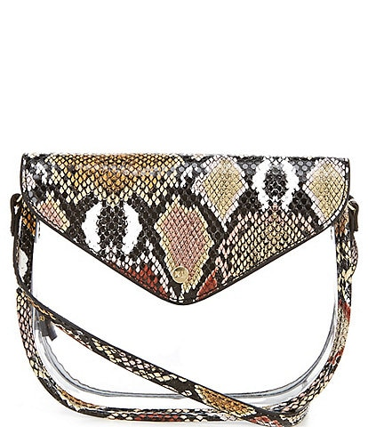 Kate Landry Clear Saddle Snake Stadium Crossbody Bag