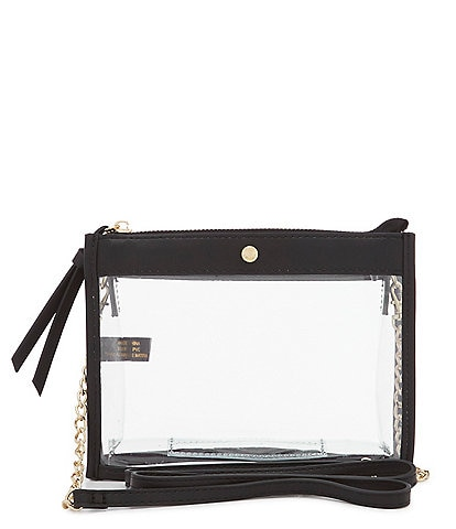 Kate Landry Clear Top Zip Stadium Crossbody Bag