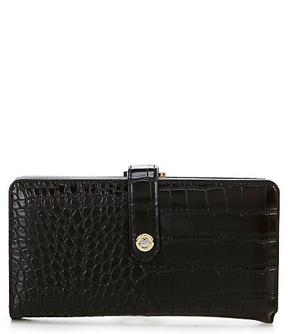 Kate Landry Crocodile Embossed Checkbook Clutch Wallet