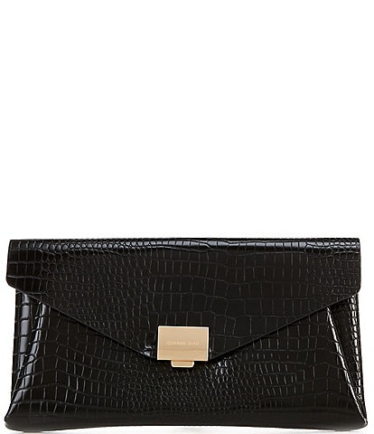 Kate Landry Envelope Flap Crocodile-Embossed Crossbody Clutch