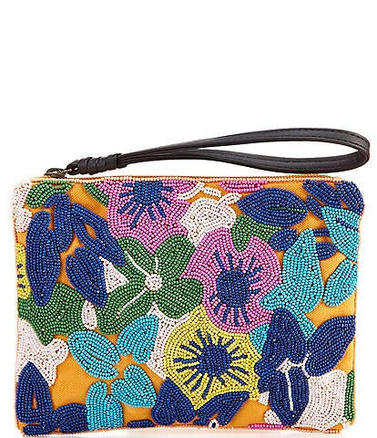 Kate Landry Floral Beaded Wristlet Pouch