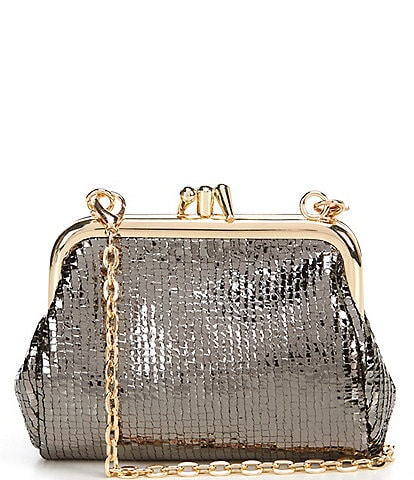 Kate Landry Jeweled and Textured Black Frame Pouch