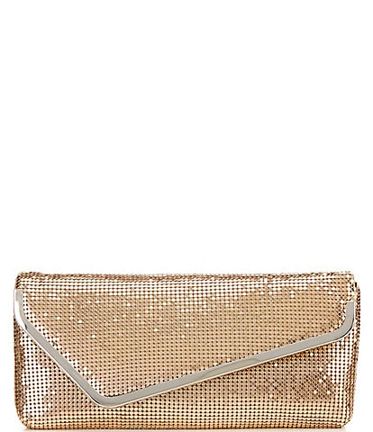 Kate Landry Metal Mesh Asymmetrical Flap Clutch Bag