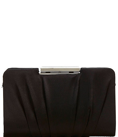 Kate Landry Pleated Satin Frame Clutch Bag