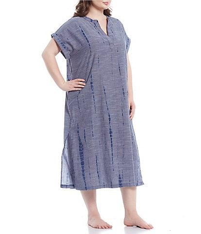 Kate Landry Plus Tie-Dye Woven Long Caftan