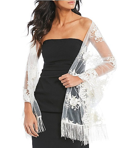 Kate Landry Romantic Embroidered Mesh Wrap