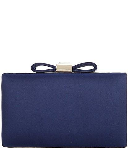 Kate Landry Satin Bow Topper Clutch Bag
