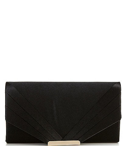 Kate Landry Satin Diagonal Pleated Flap Clutch Bag