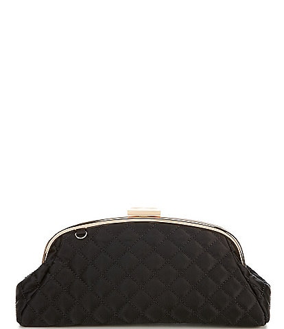 Kate Landry Satin Quilted Frame Clutch