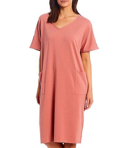 Kate Landry Solid Knit V-Neck Short Sleeve Midi Lounge Dress