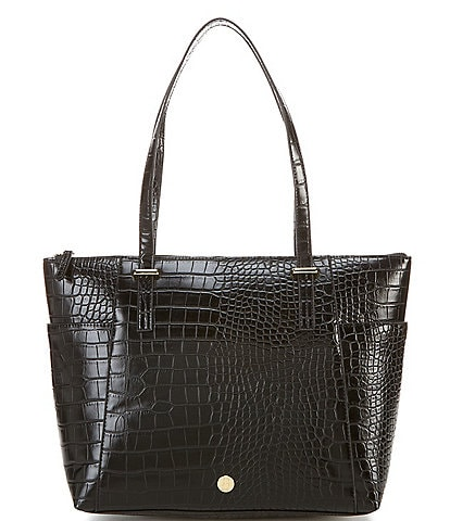 Kate Landry Stonely Crocodile Embossed Top Zip Tote Bag