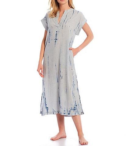 Kate Landry Yarn Tie-Dye Woven Long Caftan