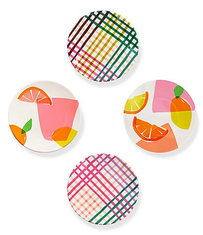 kate spade new york Melamine Citrus Celebration and Rainbow Plaid Tidbit Plates, Set of 4