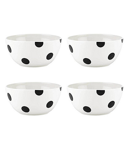 kate spade new york All in Good Taste Black Deco Dot Cereal Bowls, Set of 4