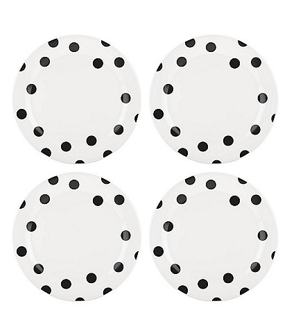 kate spade new york All in Good Taste Black Deco Dot Dinner Plates Set of 4