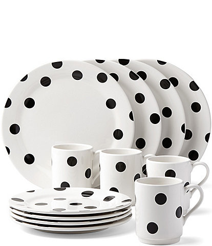 Kate Spade New York All In Good Taste Deco Dot Stoneware 12 PIece Dinnerware  Set