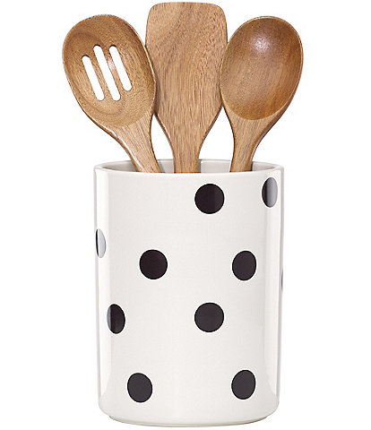 kate spade new york All in Good Taste Scatter Dot Crock and Wooden Utensils