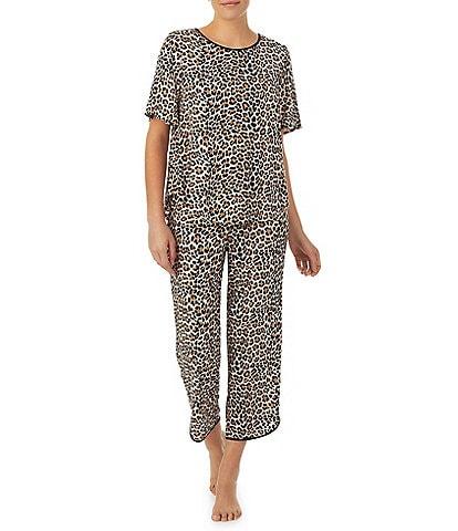 kate spade new york Animal Print Jersey Cropped Coordinating Pajama Set
