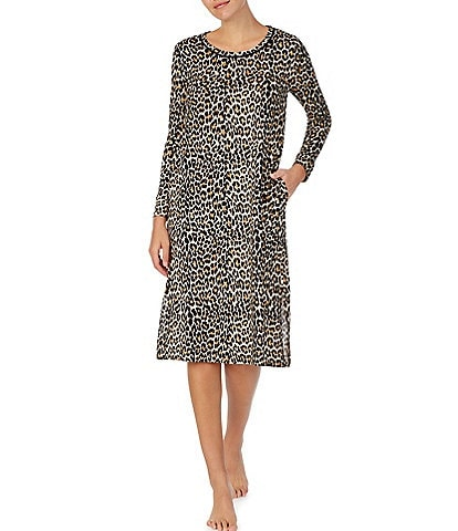 kate spade new york Animal Print Sweater Knit Long Nightgown