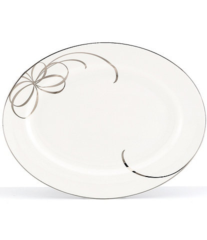 kate spade new york Belle Boulevard Bow Platinum Oval Platter